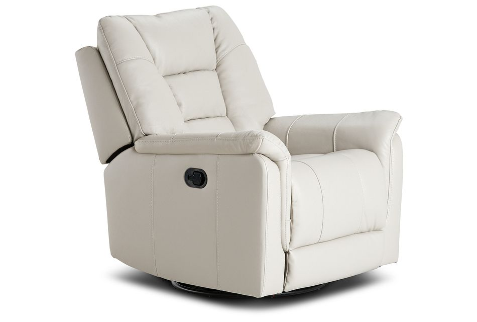 Owen Light Gray Leather Swivel Glider Recliner