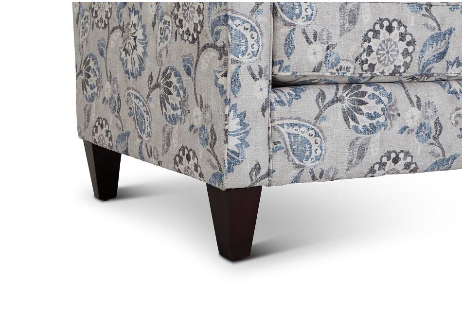 Sylvie Blue Floral Accent Chair