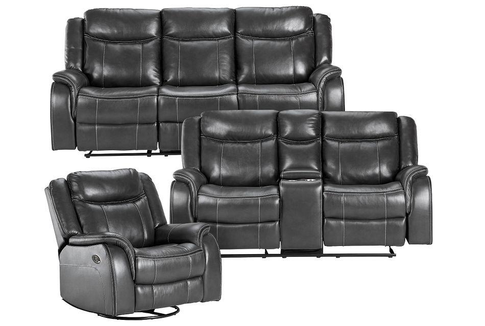 Lowe Dark Gray Micro Power Reclining Living Room