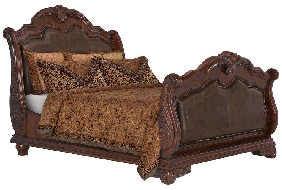 Regal Dark Tone Leather Sleigh Bed