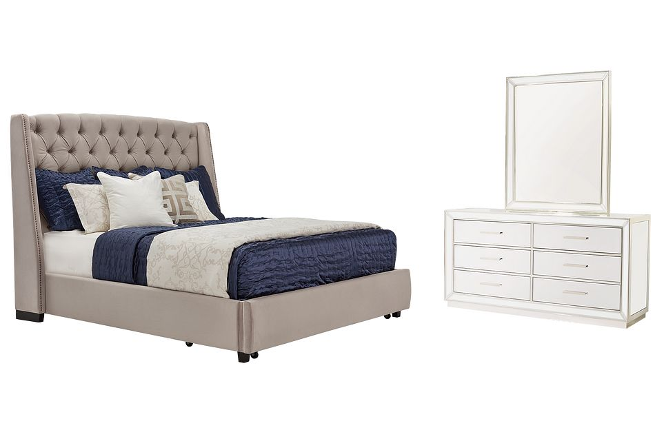Raven Gray Mirrored Platform Storage Bedroom