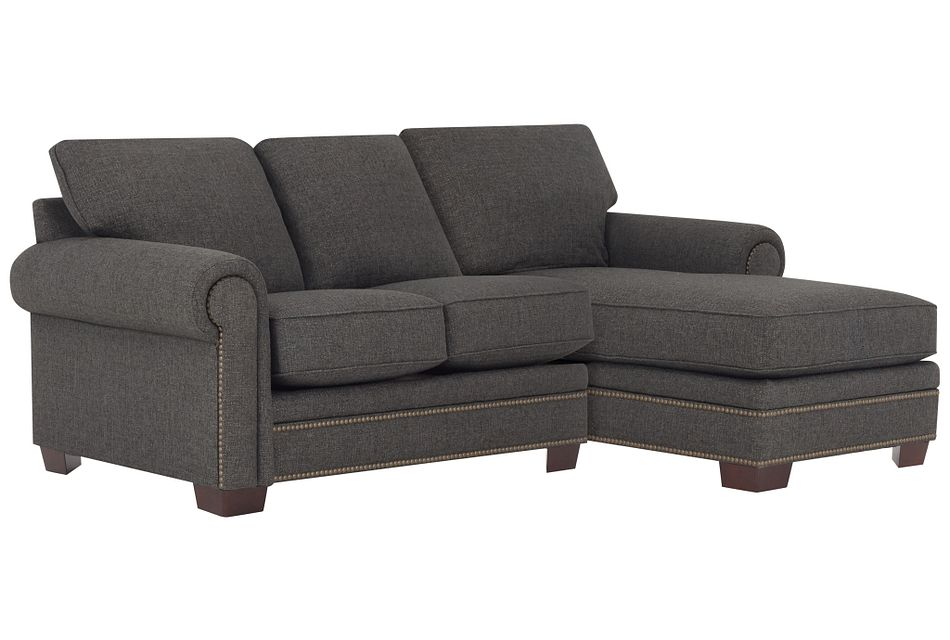 Foster Dark Brown Fabric Right Chaise Sectional