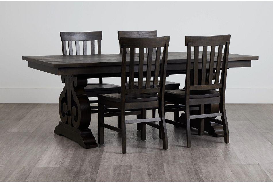 Sonoma Dark Tone Trestle Table & 4 Wood Chairs,  (0)