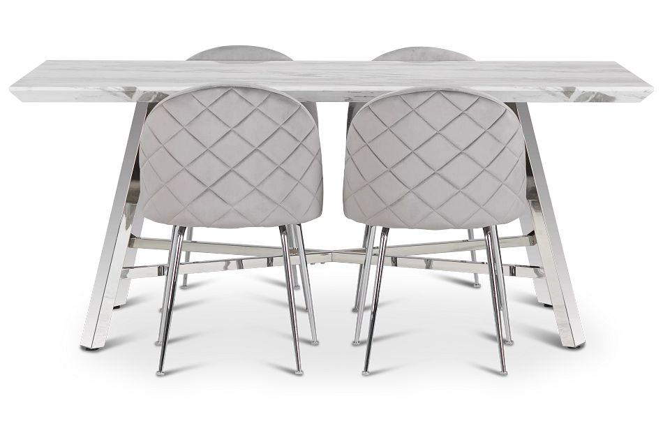 Capri Stainless Steel  GRAY Rectangular Table & 4 Upholstered Chairs,  (2)