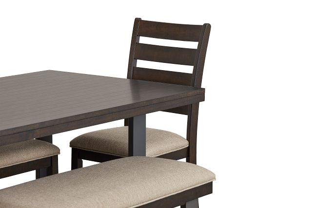Sawyer Dark Tone Rect Table, 4 Chairs & Bench