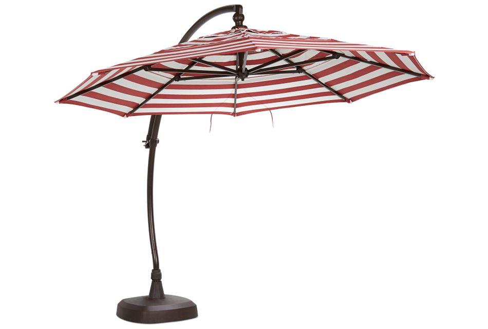 Cayman Red Stripe Cantilever Umbrella Set