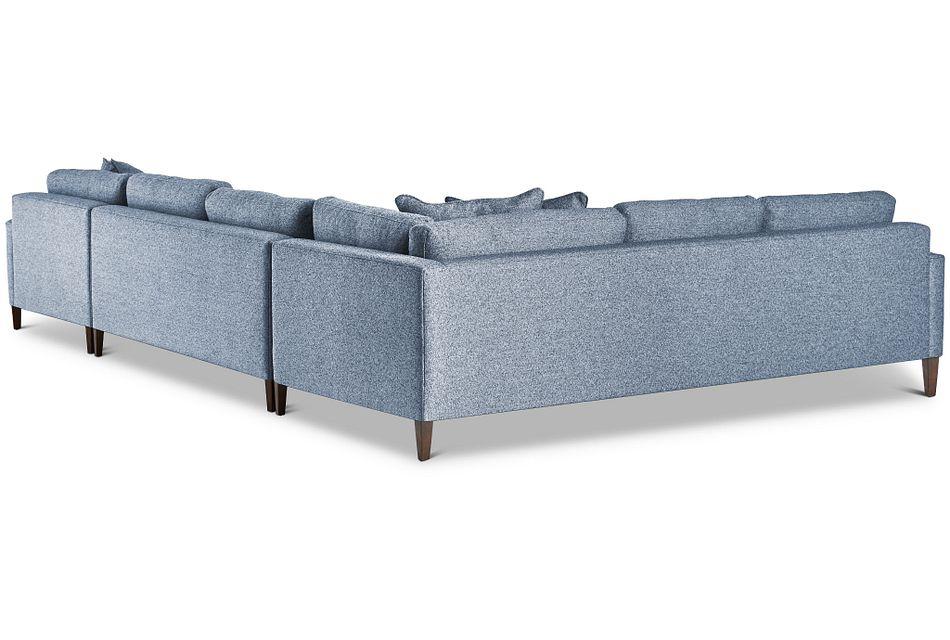 Morgan Blue Fabric Medium Right Chaise Sectional W/ Wood Legs