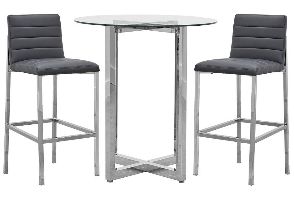 Amalfi Gray Glass Pub Table & 2 Upholstered Barstools