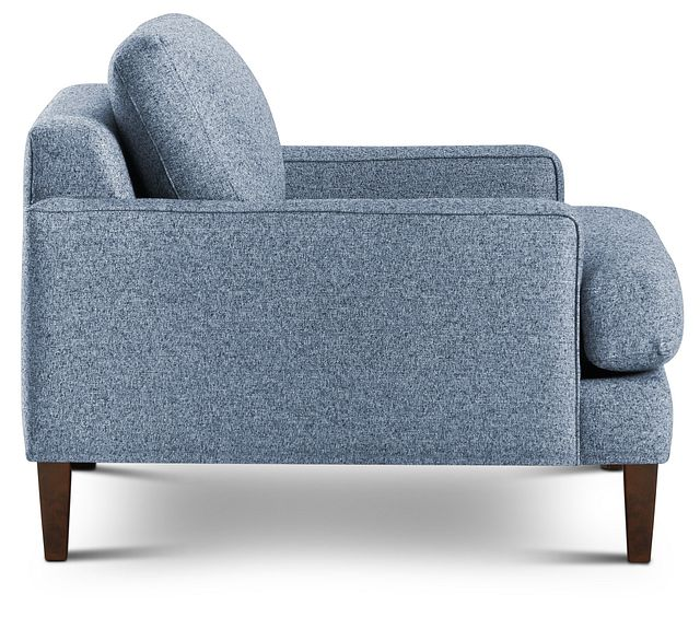 Morgan Blue Fabric Chair With Wood Legs (2)