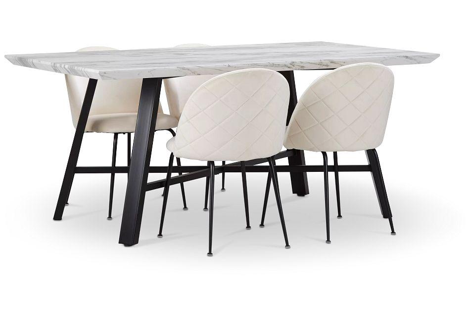 Capri Black Ivory Rectangular Table & 4 Upholstered Chairs