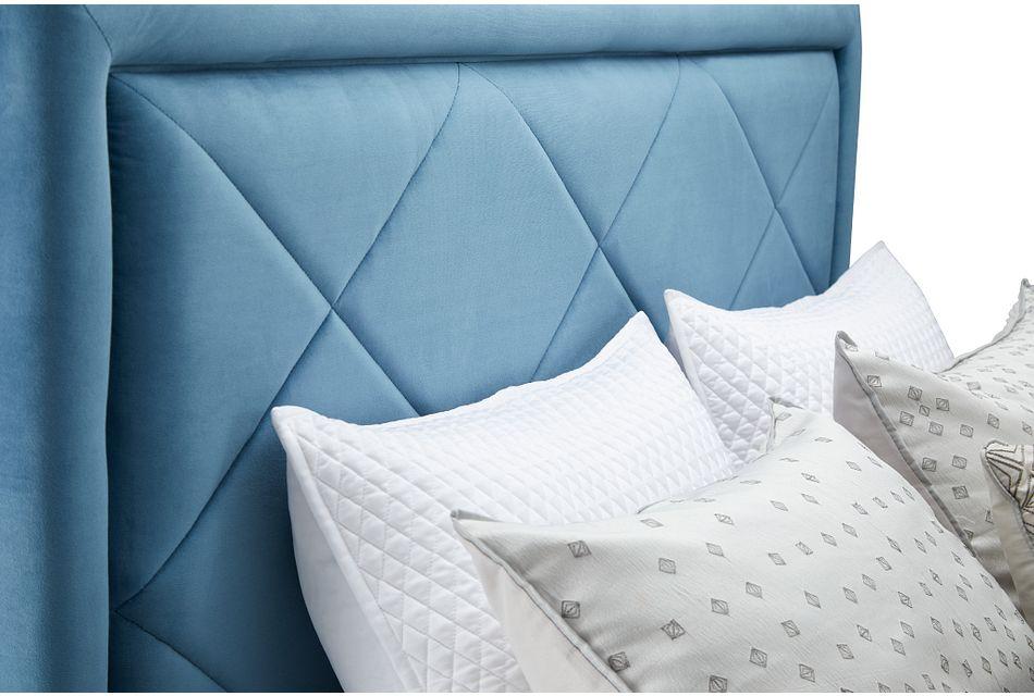 Collin Blue Velvet Platform Bed, King (1)