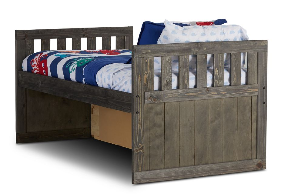 Cinnamon Gray Panel Storage Bed