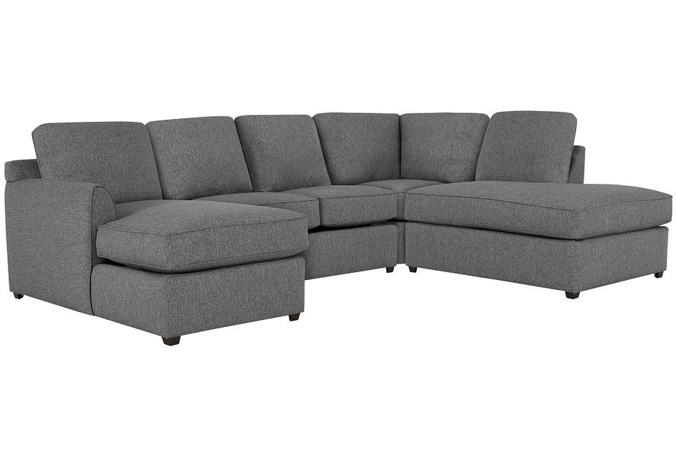 Asheville Gray Fabric Small Right Bumper Sectional