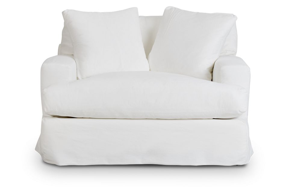 Delilah White Fabric Chair,  (3)