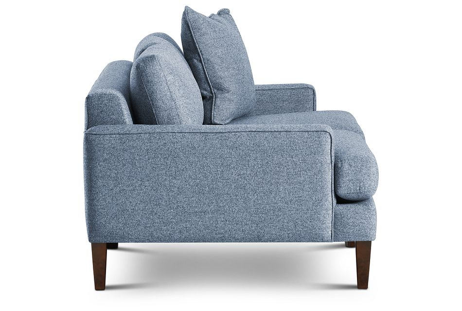 Morgan Blue Fabric Loveseat With Wood Legs