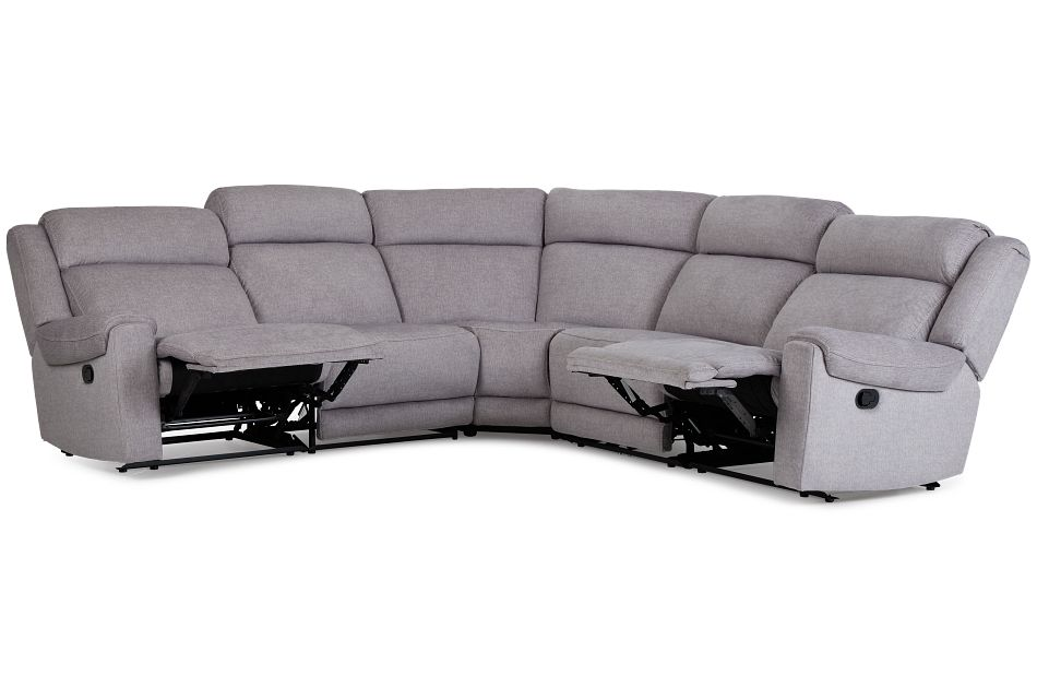 Beckett Gray Micro Small Two-Arm Manually Reclining Sectional,  (3)