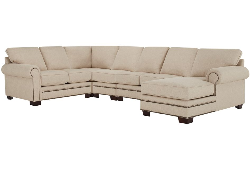 Foster Khaki Fabric Large Right Chaise Sectional