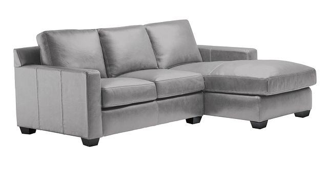 Carson Gray Leather Right Chaise Sectional (0)