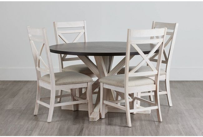 Jefferson Two-tone Round Table & 4 Wood Chairs