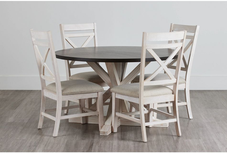Jefferson Two-Tone Round Table & 4 Wood Chairs,  (0)