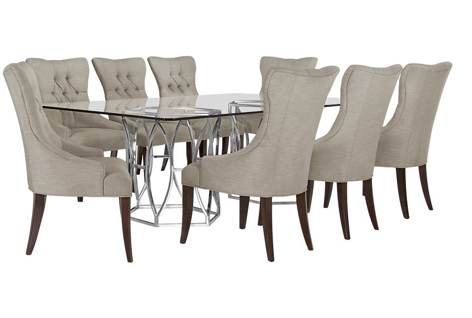 Argent Light Gray Rect Table & 4 Upholstered Chairs