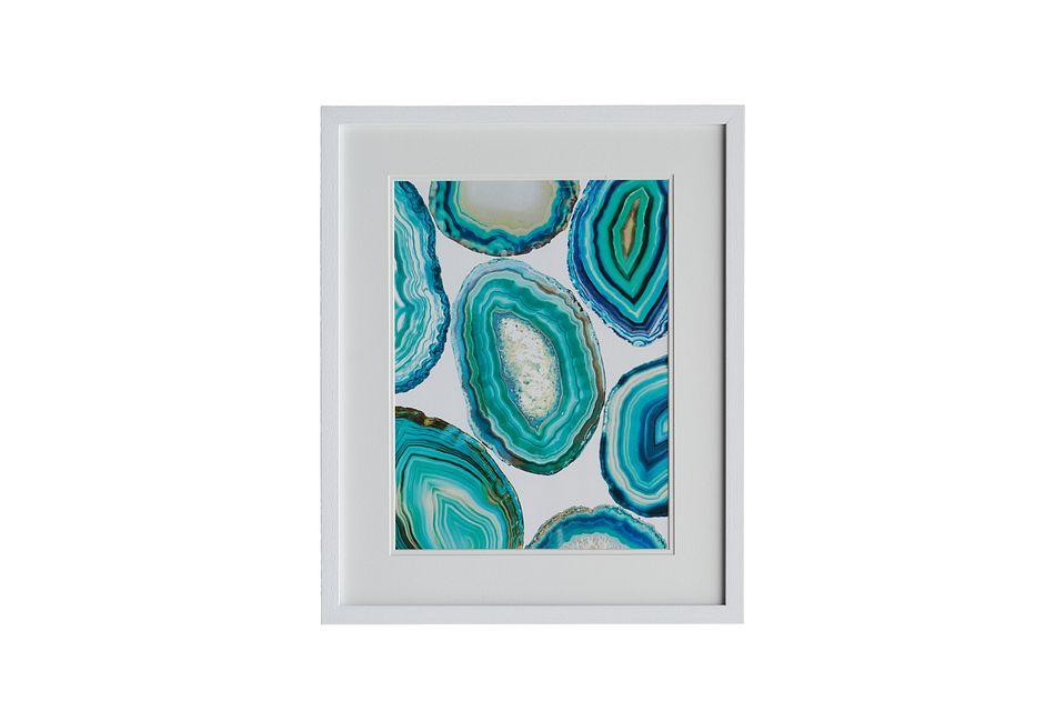 Geode2 Blue Framed Wall Art