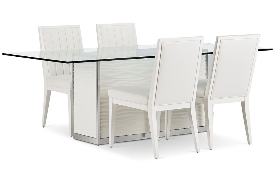 "Ocean Drive 86"" Glass Table & 4 Wood Chairs"