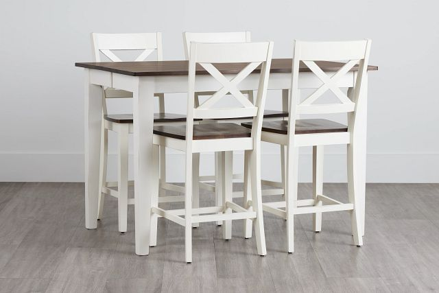 Sumter White High Table & 4 Barstools (0)