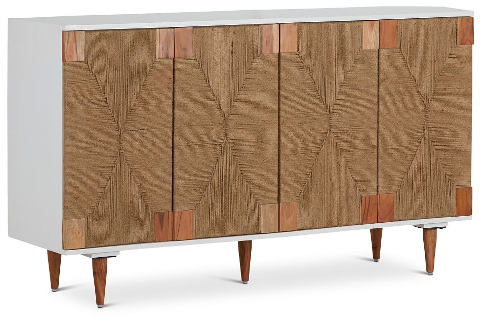Woven Two-Tone Four-Door Cabinet,  (2)