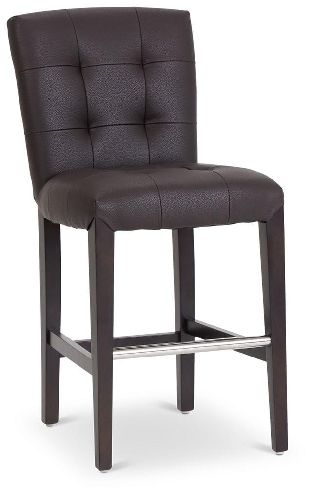 "Shelby Dark Brown Micro 24"" Upholstered Barstool (1)"