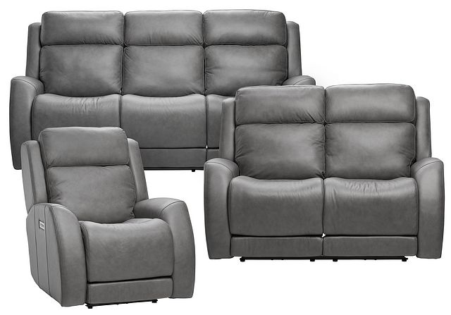 Rawlings Dark Gray Leather Power Reclining Living Room