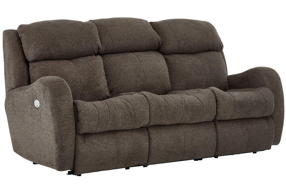 Finn Brown Fabric Power Reclining Sofa