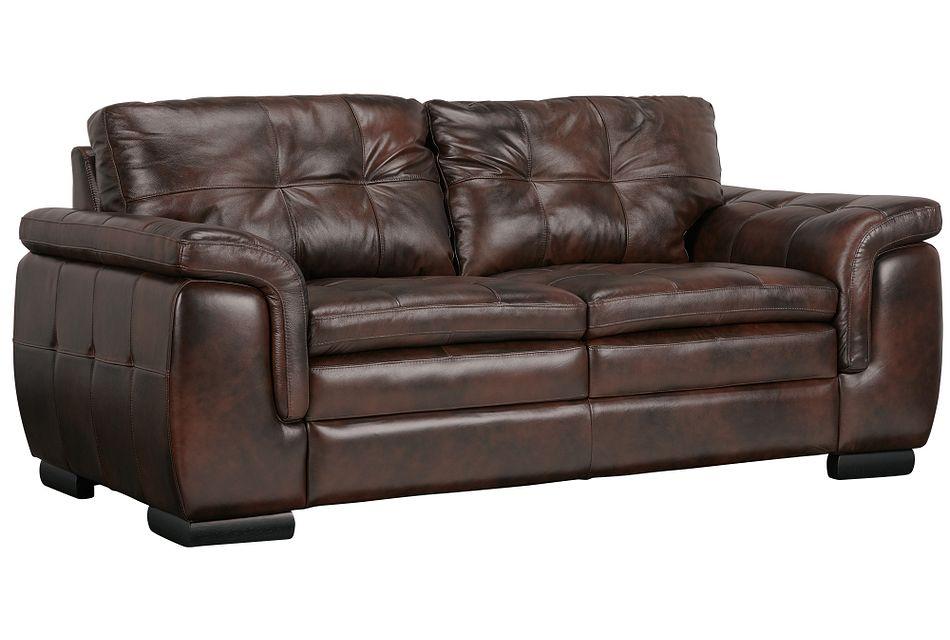 Trevor Dark Brown Leather Loveseat