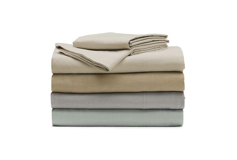 Linen Blend Khaki  Sheet Set