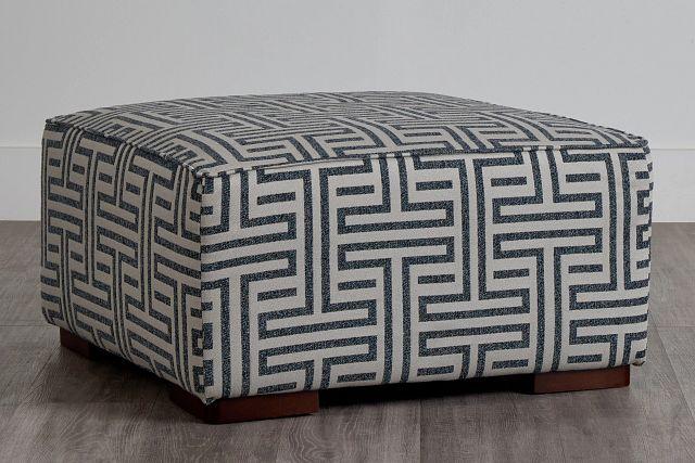 Doric Blue Fabric Accent Ottoman (0)