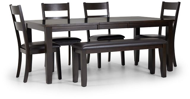 Navarro Dark Tone Rect Table, 4 Chairs & Bench (3)