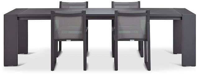 """Linear Dark Gray 110"""" Aluminum Table & 4 Sling Side Chairs (2)"""