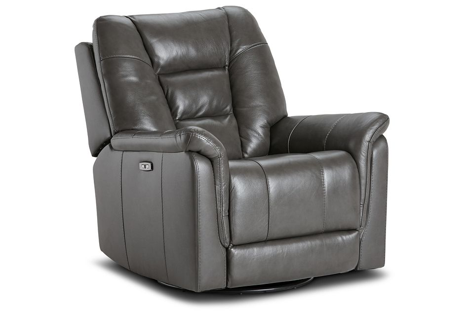 Owen Dark Gray Leather Power Glider Recliner With Power Headrest
