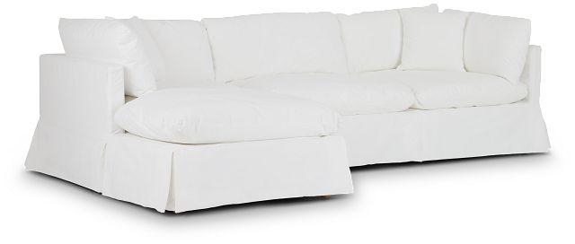 Raegan White Fabric Left Chaise Sectional (1)