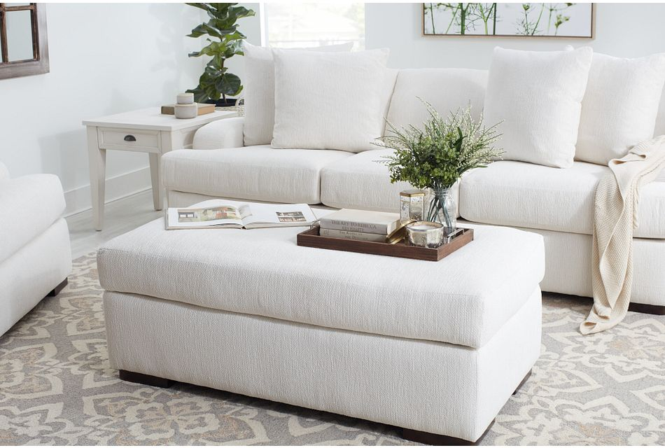 Alpha White Fabric Ottoman