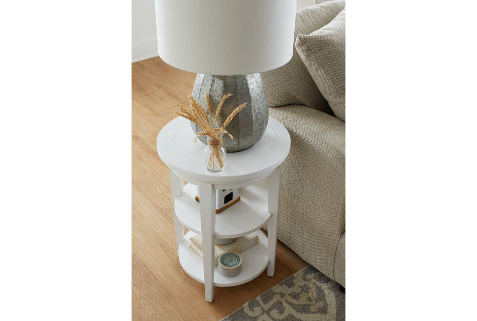 Heron Cove White Round End Table