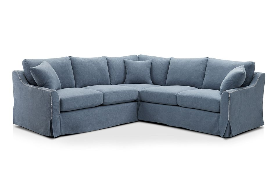 Madelyn Blue Fabric Small Two-arm Sectional
