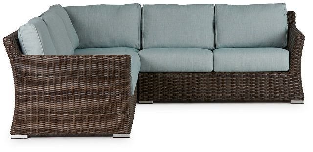 Southport Teal Woven Small Two-arm Sectional (1)