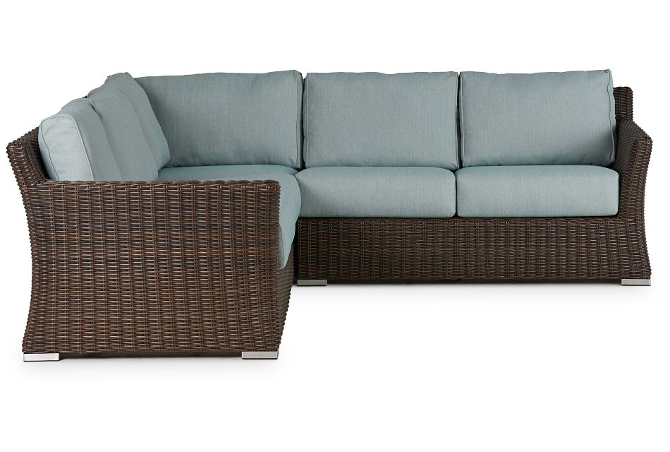 Southport TEAL WOVEN Small Two-Arm Sectional