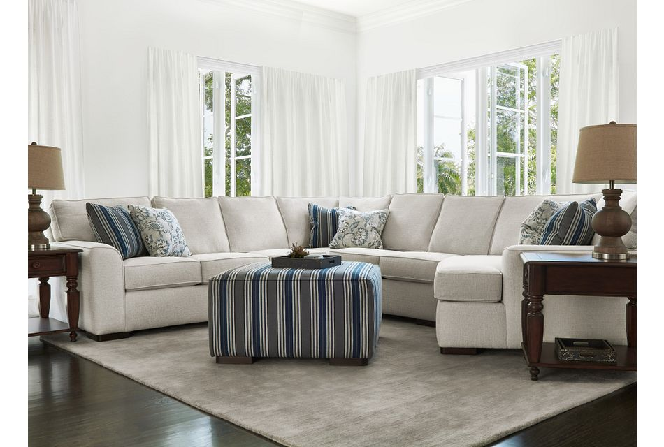 Austin WHITE FABRIC Small Right Cuddler Sectional