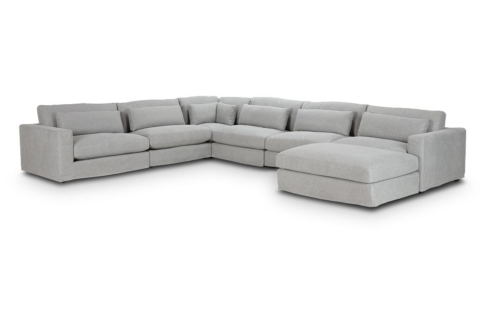 Cozumel Light Gray Fabric 7-Piece Chaise Sectional, %%bed_Size%% (0)