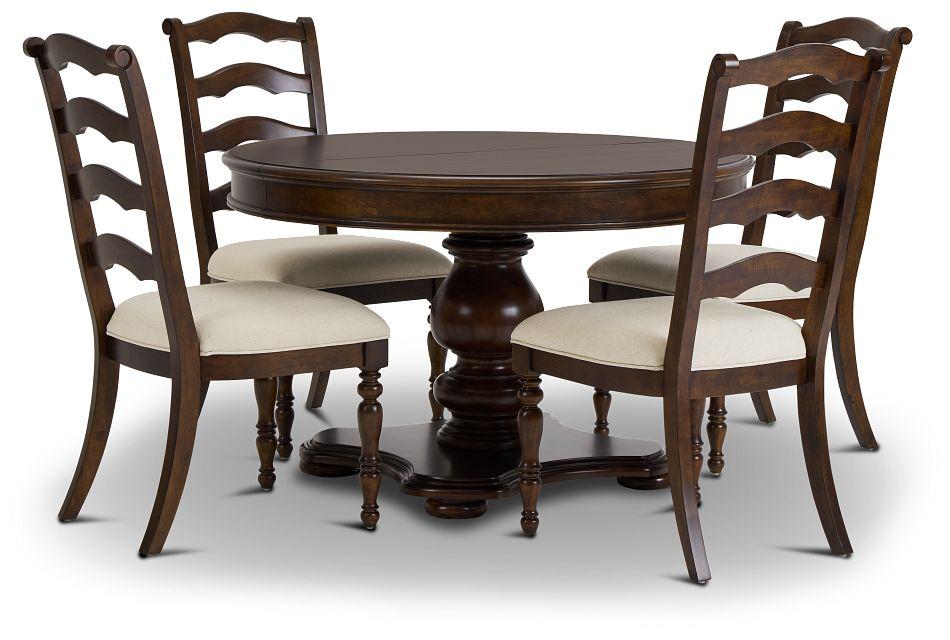 Savannah Dark Tone Round Table & 4 Chairs,  (1)