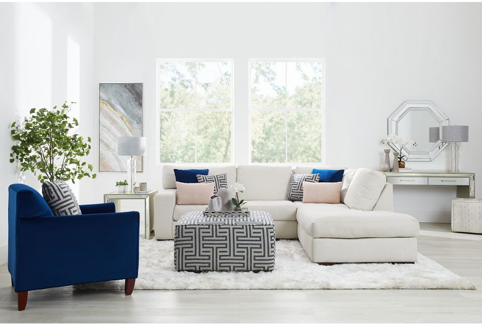 Veronica White Down Right Bumper Sectional,  (1)