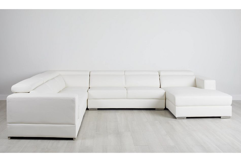 Maxwell White Micro Large Right Chaise Sectional