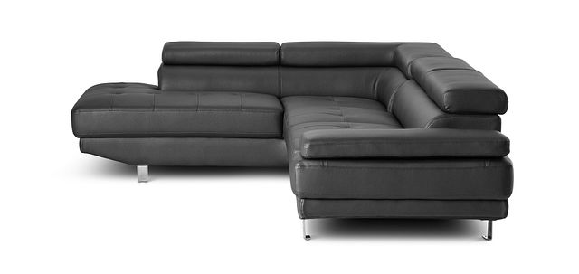 Zane Black Micro Left Chaise Sectional (2)